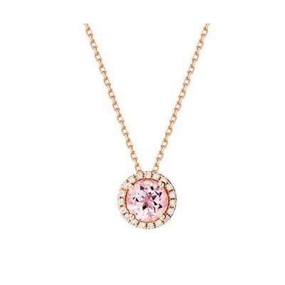 Carleen 14K Solid Rose Gold 6mm Round 0.81ct Pink Morganite 0.095cttw Diamo