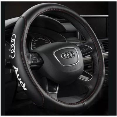 高級 本革 ステアリングカバー Audi アウディ 黒 赤ステッチ