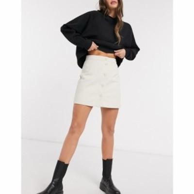 モンキ Monki レディース ミニスカート スカート Rio Button Front Mini Skirt ホワイト