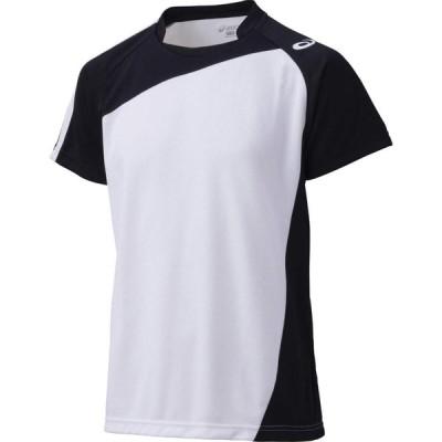 バレー ゲームシャツ 半袖 ホワイト×ブラック アシックス XW1321-0190  取寄