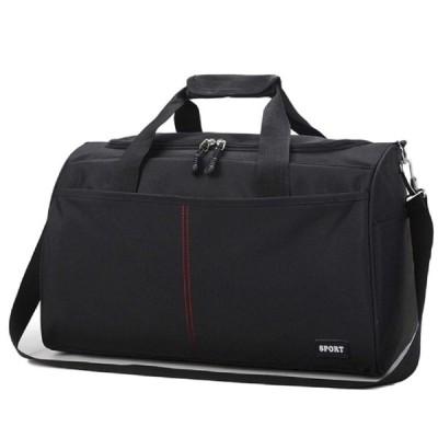 [クルーズライン] シンプル メンズ レディース ボストン 旅行 バッグ スポーツ ショルダー キャリー ジム B43 (ミディアム ブラック)