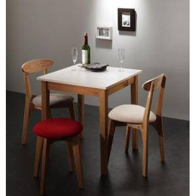 ダイニングテーブルセット 3人用 椅子 おしゃれ 安い 北欧 食卓 4点 ( 机+チェア2脚+スツール1脚 ) ホワイト×ナチュラル 幅68 デザイナ