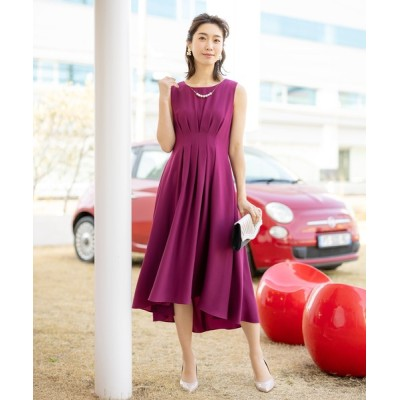 ドレス タックデザイン・テールラインロングドレス(ワンピース)