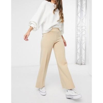 マンゴ レディース カジュアルパンツ ボトムス Mango knitted pants in beige matching set Brown