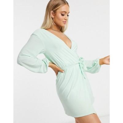 クラブエル ロンドン Club L London レディース ワンピース ラップドレス ワンピース・ドレス Club L slinky wrap dress with plunge front in mint ミント