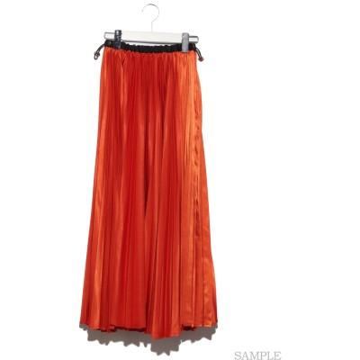 アコーディオンサテンロングプリーツスカート