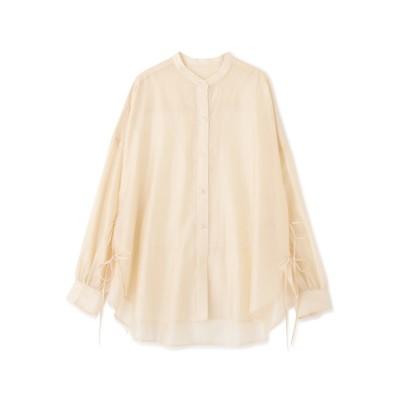 ◆シアーバンドカラーサイドリボンシャツ アイボリー