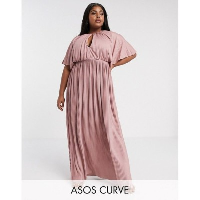 エイソス ASOS Curve レディース ワンピース マキシ丈 ワンピース・ドレス ASOS DESIGN Curve Exclusive cape maxi dress with pleated skirt ピンク