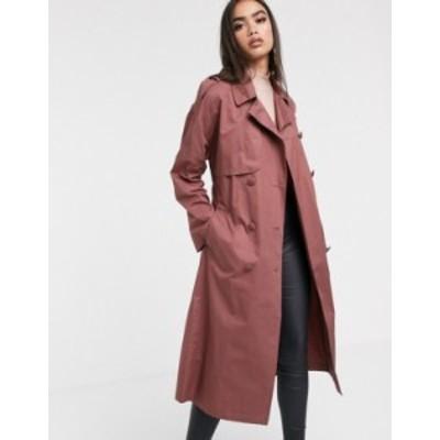 エイソス レディース コート アウター ASOS DESIGN cotton trench coat with self belt in dark rose Dark rose