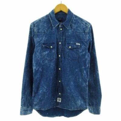 【中古】ペペジーンズ Pepe Jeans シャツ デニムシャツ 長袖 ブリーチ加工 総柄 ブルー 青 S メンズ
