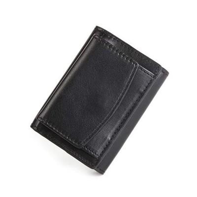 MURA 三つ折り財布 ミニ財布 メンズ 産地証明付き イタリアンレザー スキミング防止 (ブラックxブラウン)