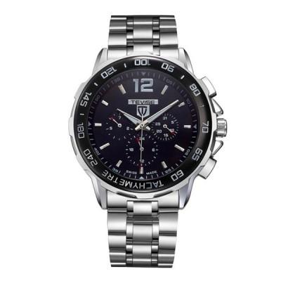 TEVISE_356 ミリタリースタイル フルスチール 男性腕時計 半自動機械式時計