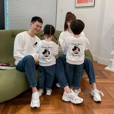 時間限定SALE7色親子ペア ディズニー ミッキーマウストレーナー  韓国 レディースファッション ママと娘 おそろい服 親子服 家族お母さん子 父と息子 お揃い服 ペアルックカップル 子供服パーカー