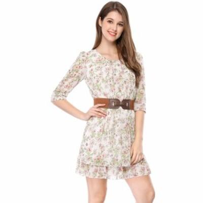 Allegra K レディース フレアワンピース シフォン ドレス 花柄 七分袖 おしゃれ グリーンxS