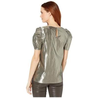 ユニセックス 衣類 トップス CeCe Puff Sleeve Gold Lame Blouse Silver Charm ブラウス&シャツ