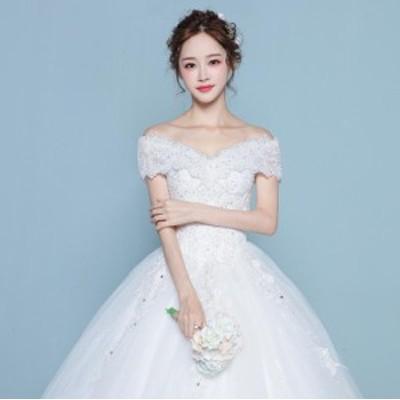 トレーンドレス 結婚式 ブライダルドレス 花嫁 編み上げ きれいめ ウェディングドレス ホワイト 大きいサイズ ボートネック 刺繍花柄