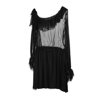 SAINT LAURENT ミニワンピース&ドレス ブラック 34 シルク 100% ミニワンピース&ドレス