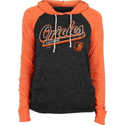 ニューエラ レディース パーカー・スウェット アウター New Era Women's Baltimore Orioles Black Tri-Blend Pullover Hoodie