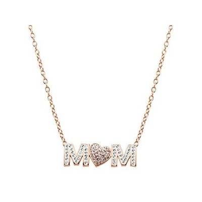 Crystaluxe ' Mom 'ピンクハートネックレスwith Swarovski Crystals in 18Kローズ金メッキスターリングシル