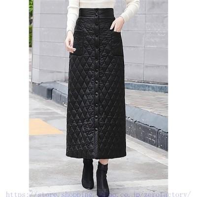 スカート ボトムス キルティング ラップスカート レディース 中綿キルト 巻きスカート ロング丈 超軽量 あったか 大きいサイズ ラップスカート 防寒 韓国