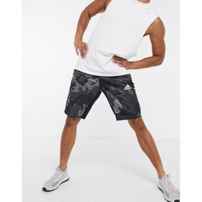 アディダス メンズ ハーフパンツ・ショーツ ボトムス adidas Training camo shorts in gray