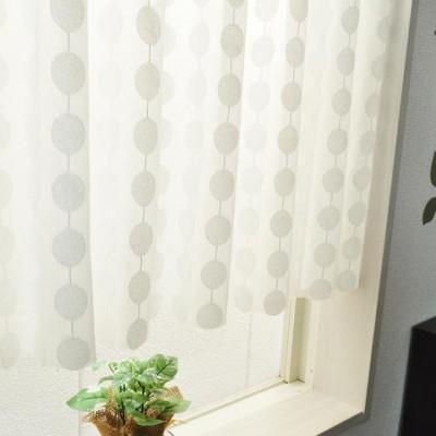 日本製 水玉柄のカフェカーテン ホワイト 148c×48cm 24197  カーペット カーテン ファブリック[▲][AB]