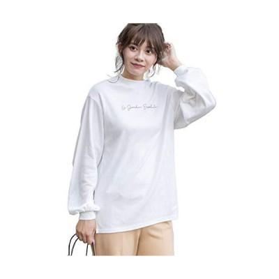 [アドティエ]スムースプチハイネックロゴプリントロングTシャツ カットソー ロンT スリット オフF10504014