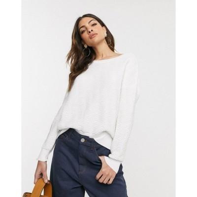 フレンチコネクション レディース ニット&セーター アウター French Connection slash neck cropped sweater Winter white