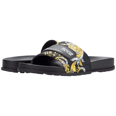 Versace Jeans Couture Baroque Pool Slide メンズ サンダル Black/Gold