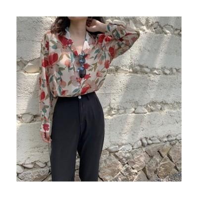 ブラウス レディース ファッション 40代 30代 50代 トップス 春 夏 ヴィンテージ花柄オーバーサイズシフォンシャツ お出かけ 大人可愛い かわいい 黒