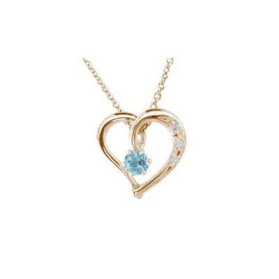 ネックレス ダイヤモンド オープンハート ピンクゴールドK18 ブルートパーズ 11月誕生石 ハート パワーストーン K18 ダイヤ 18金 レディース 宝石 送料無料