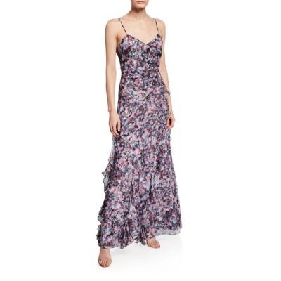 パーカー ブラック レディース ワンピース トップス Barcelo Printed Silk Chiffon  Gown with Side Ruffles