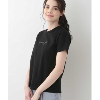 【オフオン】 メッセージロゴ刺繍Tシャツ レディース ブラック L OFUON