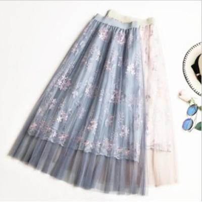 チュールスカート 高級花柄 刺繍 レーススカート 仙女 ふんわり ハイウエスト ロングスカート 3色 チュールドレス 裏地で透けない フレア