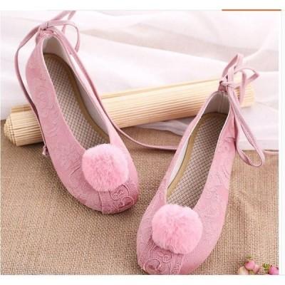 ボンボン付きパンプススニーカレディースチャイナー靴シューズ中華花刺繍手作り布素材チャイナ靴痛くない朝練太極拳ダンスシューズ