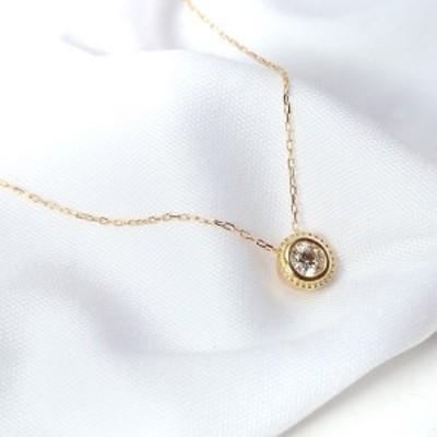 宝飾の街甲府から!SIクラスダイヤモンド0.1ctシンプルネックレス(イエローゴールド)