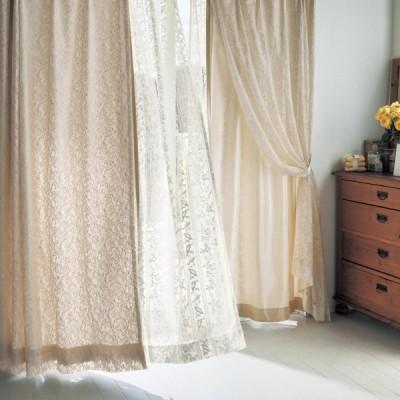 二重カーテン カーテン ドレープカーテン レース  約100×90 2枚