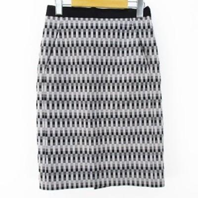 【中古】デプレ DES PRES トゥモローランド 膝丈 タイトスカート O グレー 灰系 裏地 総柄 日本製  ストレッチ 綿