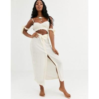 エイソス ASOS DESIGN レディース ビーチウェア beach maxi dress in natural fabrication with cut out waist & tie sleeves with shell trim
