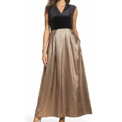 Ellen Tracy エレントレーシー ファッション ドレス Ellen Tracy NEW Black Womens Size 4 Velvet & Glitter Gown Dress