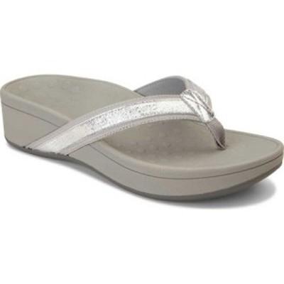 バイオニック Vionic レディース サンダル・ミュール シューズ・靴 High Tide Toe Post Sandal Silver Leather/Textile
