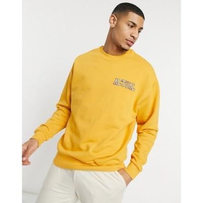 エイソス メンズ パーカー・スウェットシャツ アウター ASOS Actual oversized sweatshirt with embroidered logo in mustard Mustard