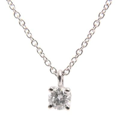 ティファニー TIFFANY ソリティア 立爪 1Pダイヤモンド ネックレス 0.2ct程度 レディース PT950 プラチナ 中古