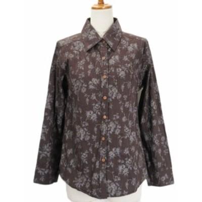 【中古】GIPSYBLUE シャツ ブラウス 花柄 クリンクル 長袖 茶 ブラウン レディース