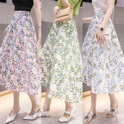 スカート ひざ下丈 花柄 フラワー ロング ハイウエスト シフォンスカート 夏 人気 #2652