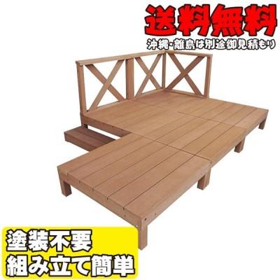 アイウッドデッキ デッキフェンス:クロスハイタイプセット ナチュラル◯ [9点セット] 1.25坪| 90cm 樹脂 人工木 DIY セット 簡単