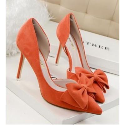 【送料無料】スエード スティレットハイヒール リボン 結婚式 パーティー ドレス カラー豊富 オレンジ 22cm~24.5cm