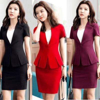 プロのスーツの女性の夏の新しいファッションの半袖スーツの気質のインタビューの正式な仕事