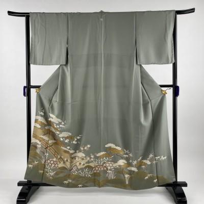 色留袖 美品 秀品 一つ紋 松竹梅 橋 金糸 金彩 薄緑 袷 159cm 64cm M 正絹 中古