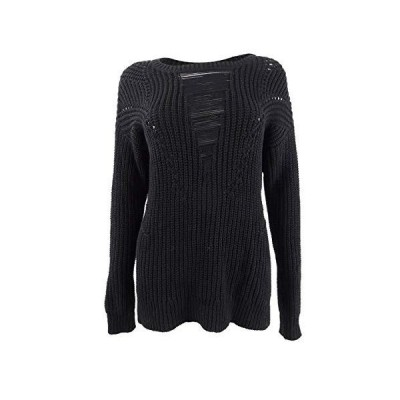 Rachel Roy Womens Black Long Sleeve Jewel Neck T-Shirt Sweater Size S並行輸入品